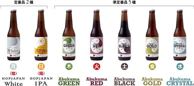 陰陽五行のコンセプトによって造られた7種類の生ホップビールたち